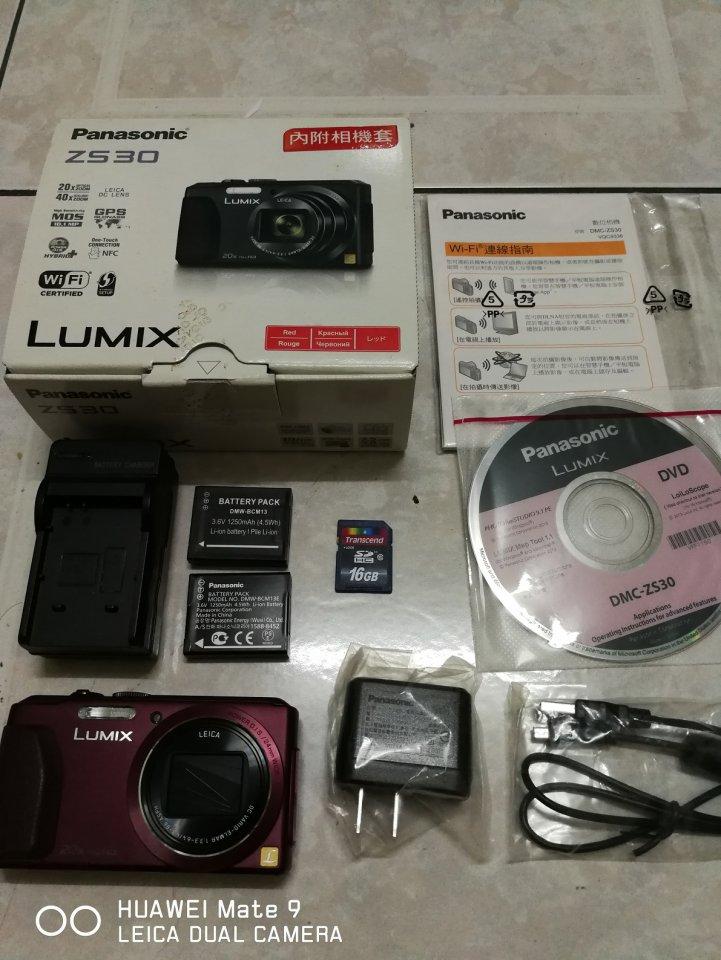 PANASONIC ZS30 酒紅色數位相機