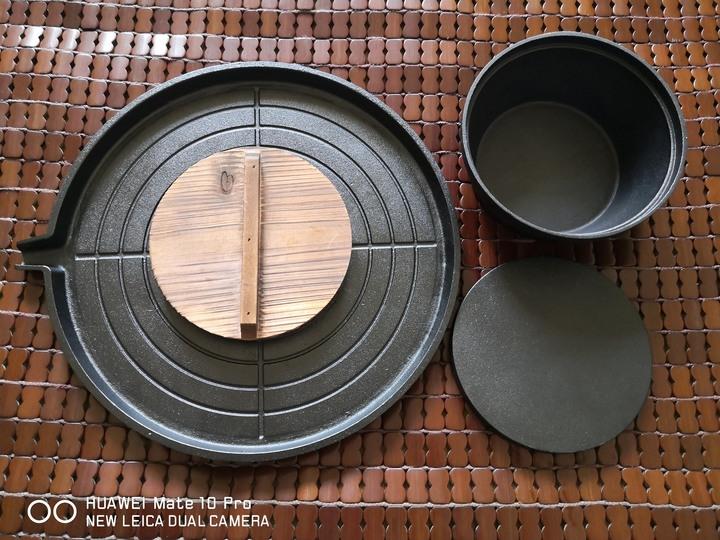 WASHAMl 鑄鐵韓式燒烤盤 (+鍋+導油嘴+擴充版) 附木蓋