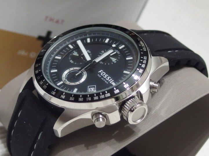 FOSSIL 帥氣三眼計時運動腕錶-黑/42mm, 全新未使用.