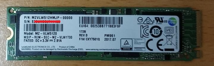 三星 SAMSUNG PM961 512GB  NVME SSD固態硬碟M.2 PCIe