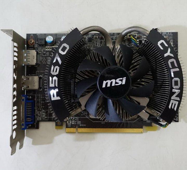 微星 R5670 CYCLONE 顯示卡、ATI HD 5670繪圖引擎、1G、DDR5、128Bit、拆機良品