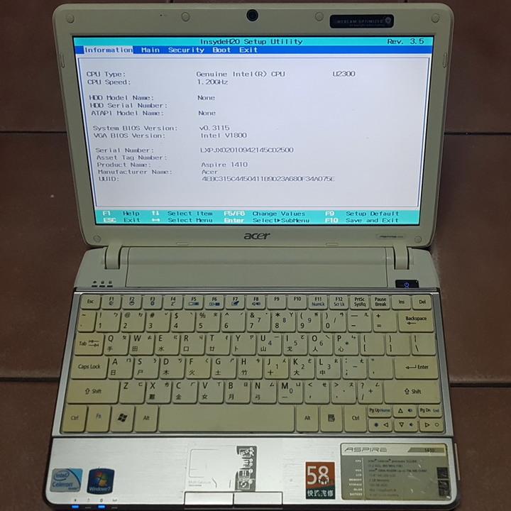 宏碁 Aspire 1410 雙核 11.6吋 筆電、已測可正常進作業系統、缺硬碟、請詳閱文字內容【售後無退、無保】