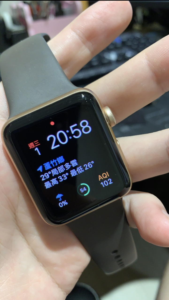 Apple Watch S3 42mm 金色鋁金屬錶殼搭配運動型錶帶(GPS版)