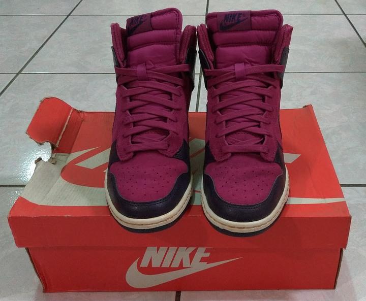 NIKE SKY HI 桃紅.紫 麂皮 內增高 楔型鞋 非air max-1 max-90 jodan-1