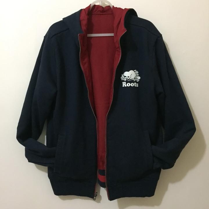 男裝 Roots 連帽外套 紅藍雙面穿 防風夾克 加拿大canada 二手 保證正品 hoody
