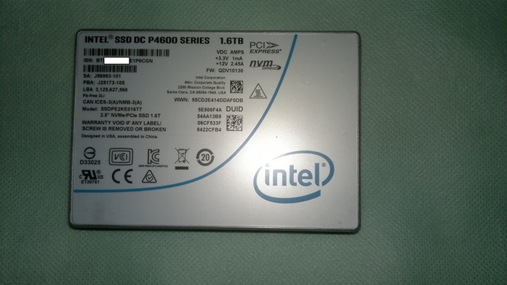 售Intel SSD DC P4600 1.6TB U.2 NVMe PCIe 3.1(含M.2轉卡+線材)