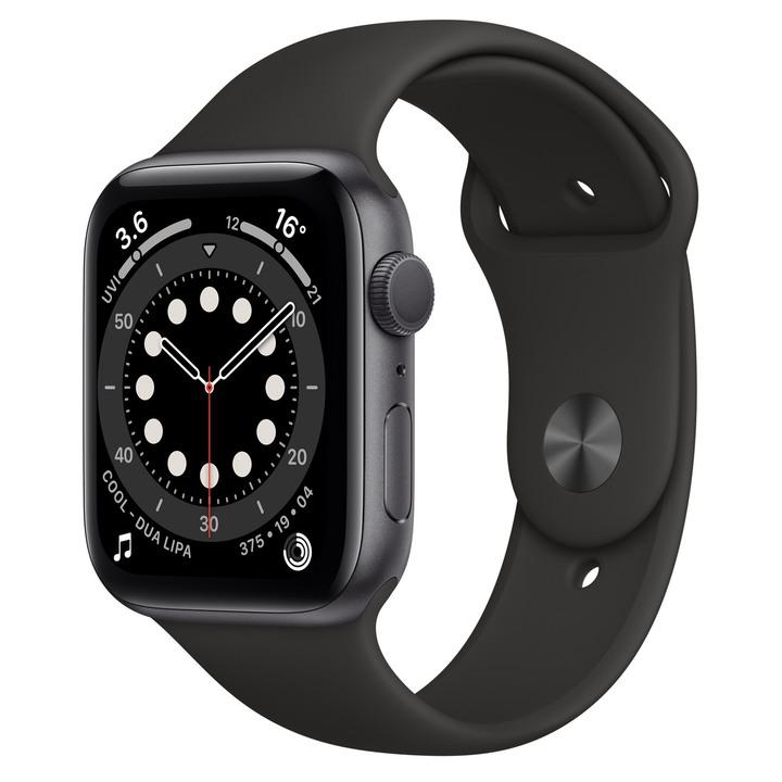 (全新未拆)Apple Watch S6 GPS,44mm 太空灰色鋁金屬錶殼黑色運動型錶帶