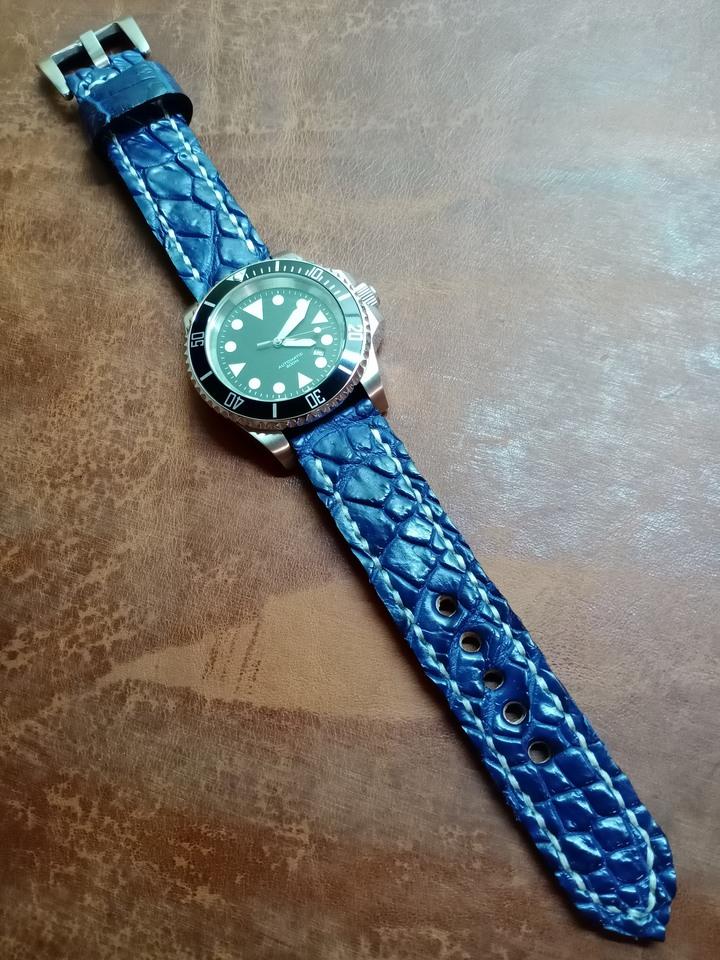 全新手工20收20mm藍色鱷魚皮錶帶(含錶扣)