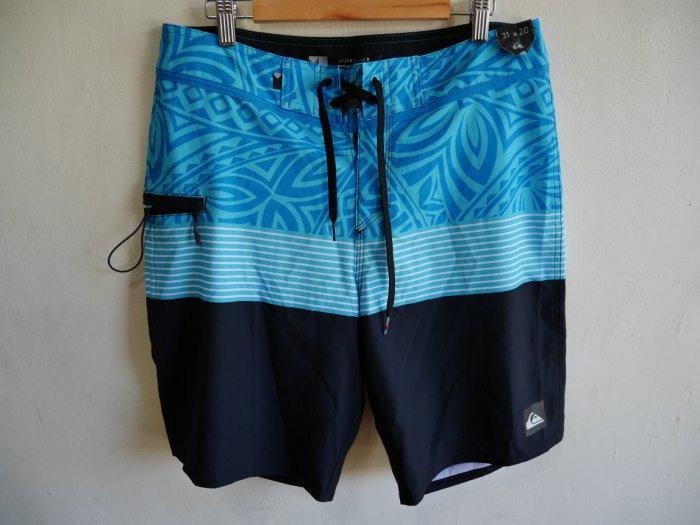 QUIKSILVER藍黑色海灘褲