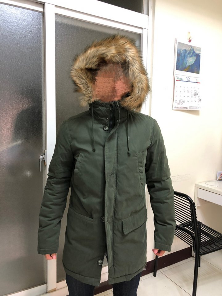 Benetton Men's Padded Faux Fur Duffle Coat(綠色)軍裝大衣
