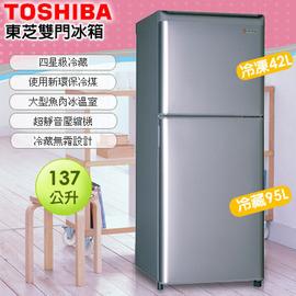 東芝137公升環保靜音雙門電冰箱GR-M140PT