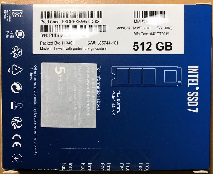 Intel 660p 512G M.2 PCIe SSD 固態硬碟(QLC)