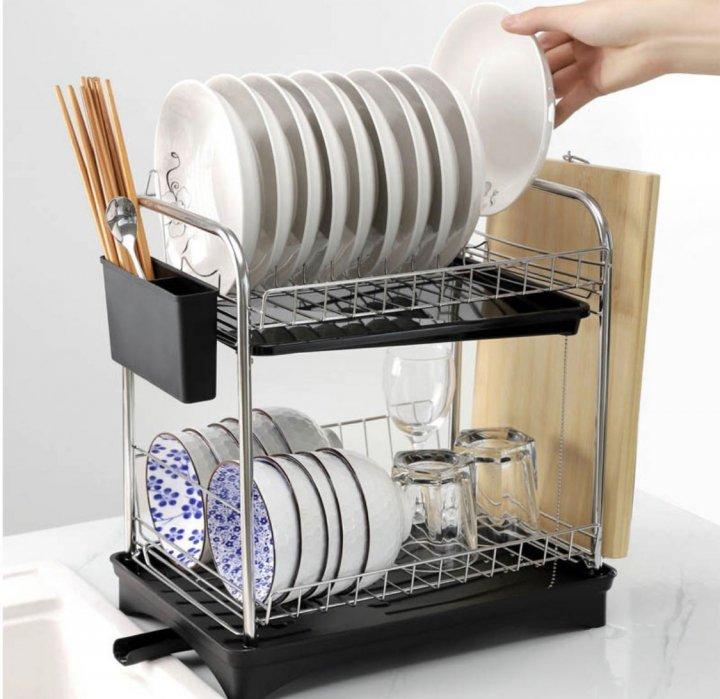 雙層瀝水盤架,碗盤架(白色)