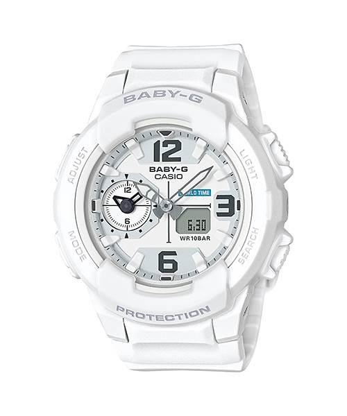 CASIO G-SHOCK 卡西歐 BABY-G 時尚設計兩地時間雙顯錶-白(BGA-230-7BDR)