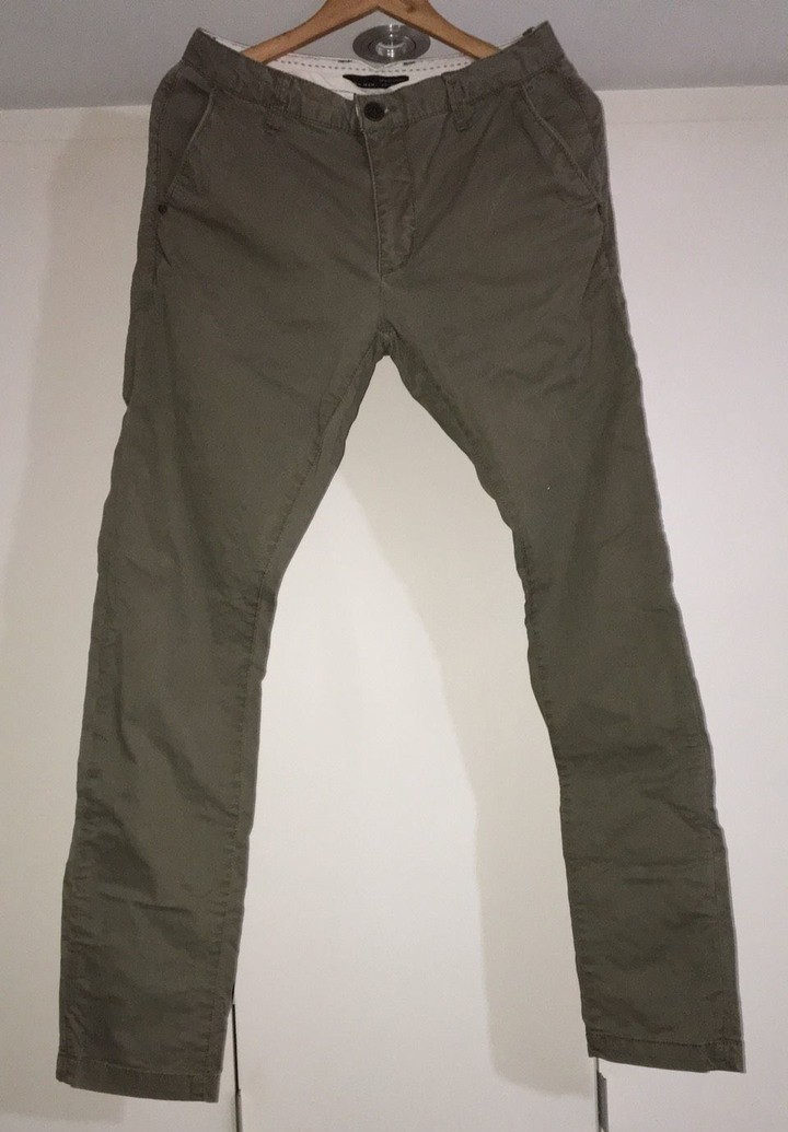 Used ZARA MAN BASIC usa31,eur40 深卡其色中低腰3D休閒褲not NUDIE,LEVIS