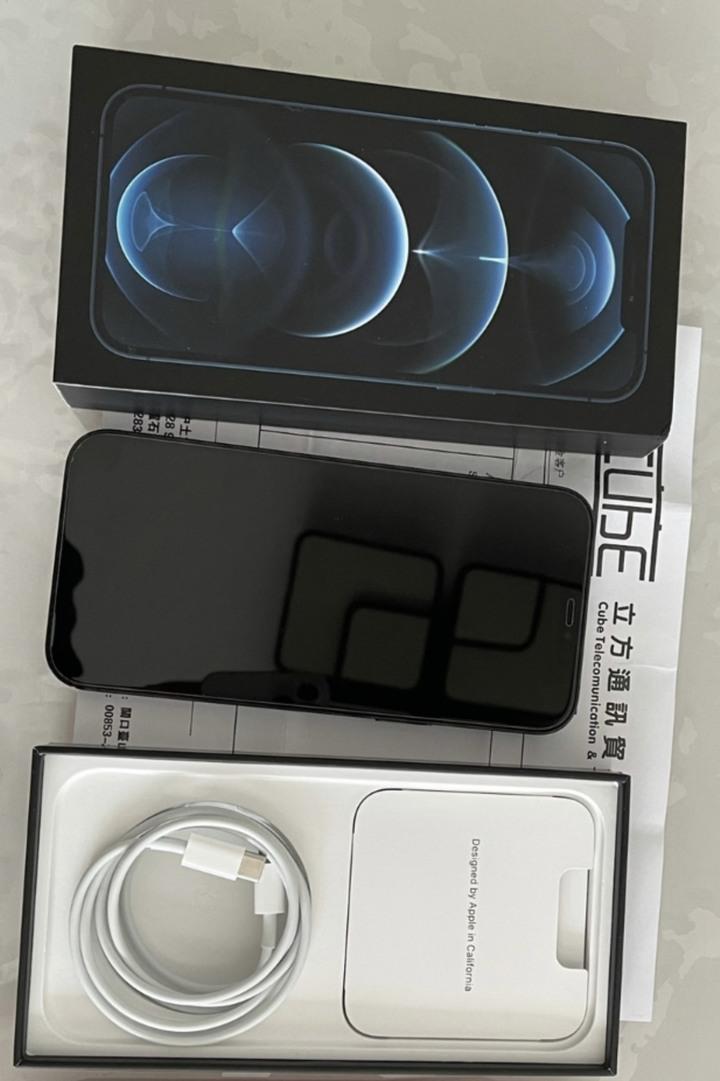 港版iPhone 12 Pro Max 128g 太平洋藍色 雙卡雙待 2月26開通 送MagSafe磁吸無線充電器