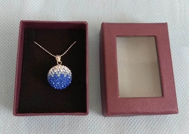 全新 孔雀藍水晶球項鍊