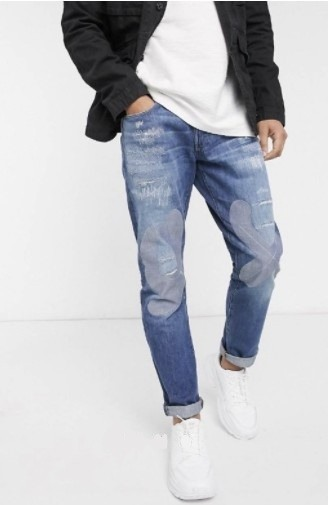 G-Star RAW 3301 藍色破壞錐型牛仔褲