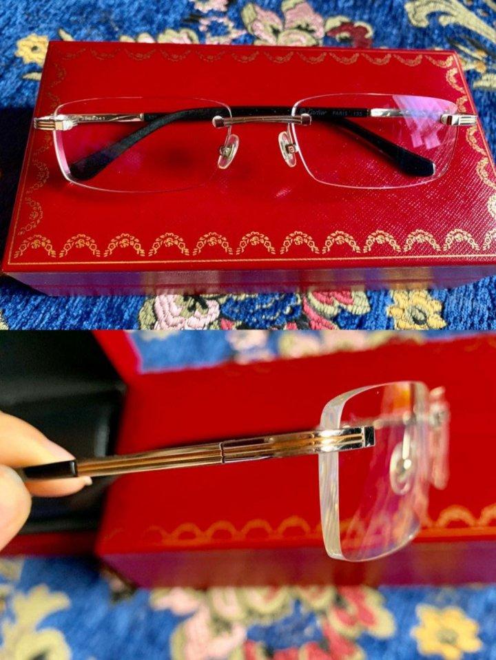 精品 Cartier 卡地亞 純金款 無框 光學眼鏡 白K+玫瑰金 稀有商品