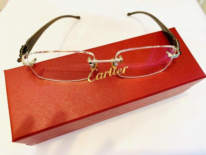 稀有 Cartier 牛角腿卡地亞 豹頭牛角 光學無框眼鏡