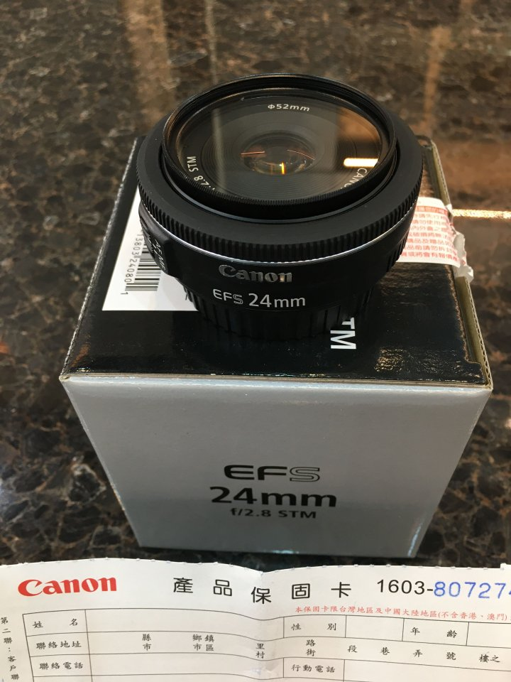 CANON EFS 24mm f/2.8 STM 定焦 品項完美 附保護鏡 無鏡頭蓋