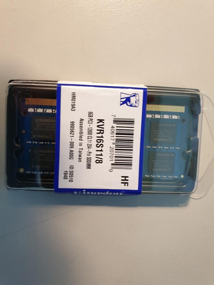 金士頓DDR3-1600 8G筆電用,剛換新,終身保固