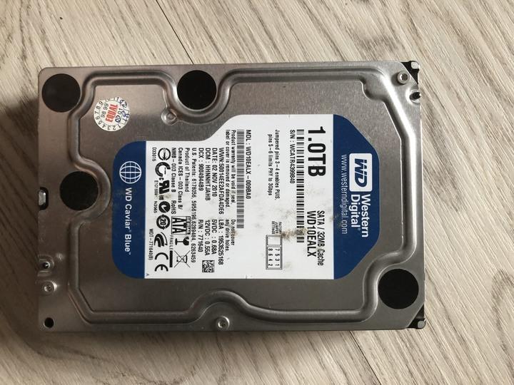 WD 藍標 SATA 32MB 1TB 3.5吋硬碟 拆機良品