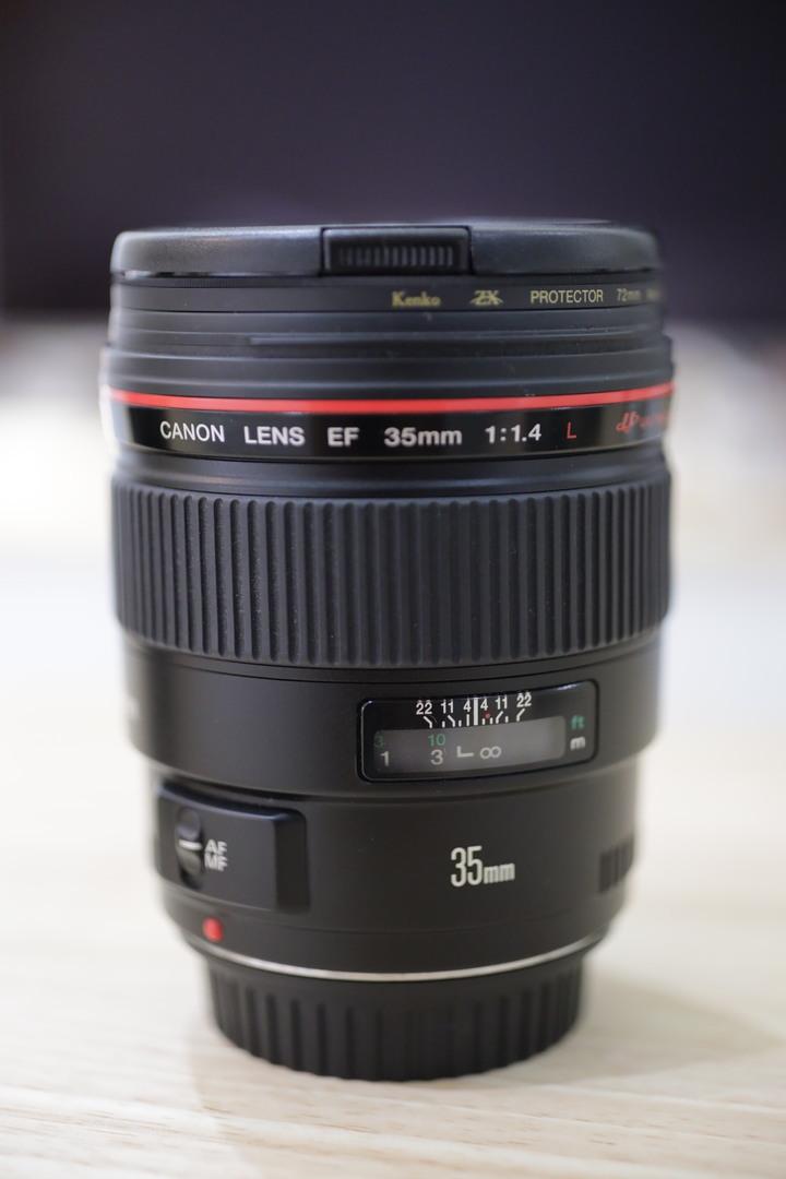 Canon EF 35mm f1.4L 無塵無霉 UA鏡 超準焦 外觀近全新 無盒裸鏡 有原廠鏡頭袋跟遮光罩 35L