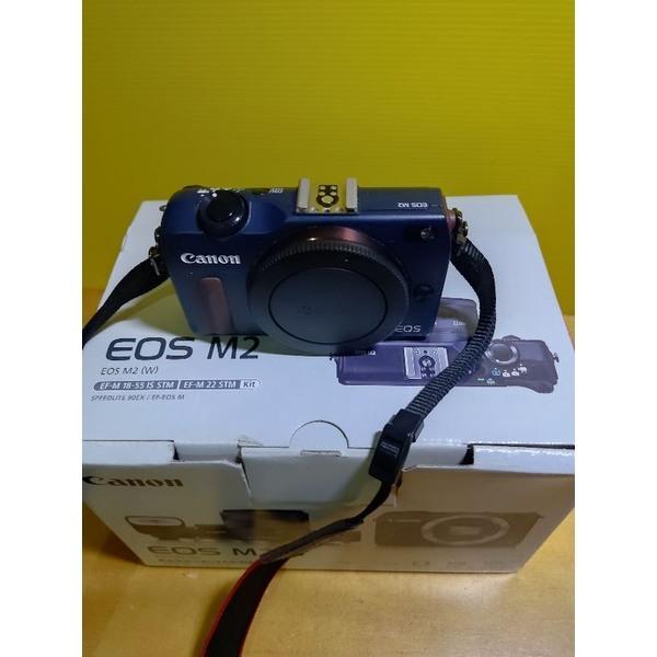 canon eos m2 藍色 單機身 完整盒裝