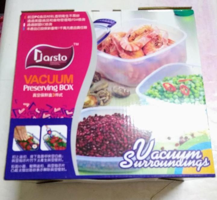 Darsto 真空保鮮盒3件式, 生鮮盒, 食品收納盒, 密封盒