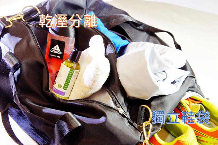 乾溼分離+獨立鞋區健身包/ 旅行包  可直提、橫提、斜背、掛行李桿