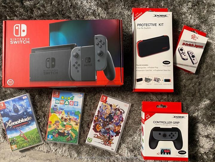 現貨多買轉售 Nintendo Switch 灰主機(電量加強版) 三遊戲含動森組合